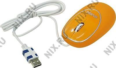 купить Мышь USB SVEN Optical Mouse [RX-555 Silent Antistress Orange] (RTL) 3кн.(с колесом)