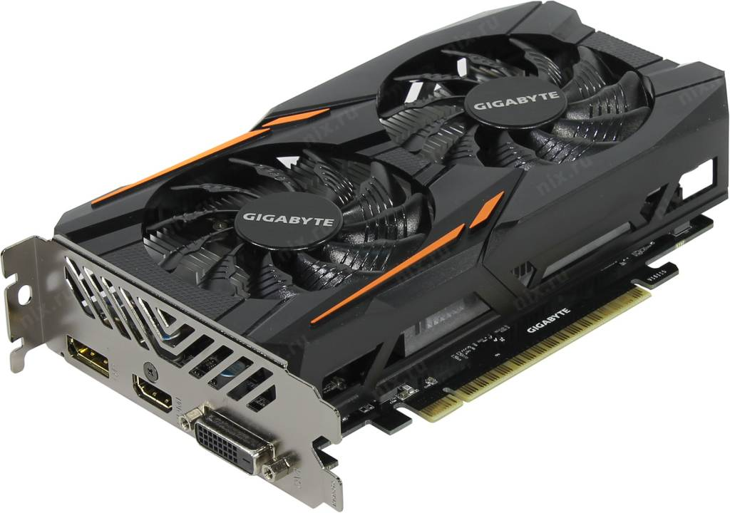 купить Видеоадаптер PCI-E 4Gb DDR5 GIGABYTE GV-N105TOC-4GD (RTL) DVI+HDMI+DP [GeForce GTX1050Ti]