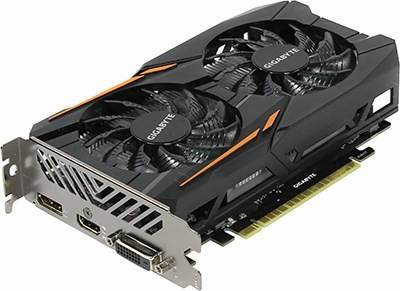 купить Видеоадаптер PCI-E 2Gb DDR5 GIGABYTE GV-N1050OC-2GD (RTL) DVI+HDMI+DP [GeForce GTX1050]
