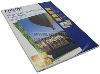 Купить Бумага A4 Epson S041332 A4 Premium Semigloss Photo Paper (20